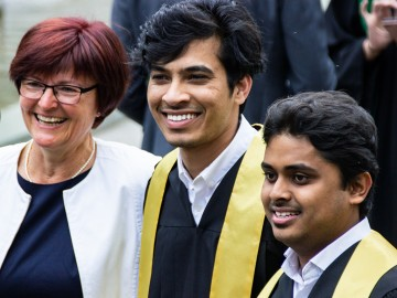 Elfi Herrmann with students at the May 2019 graduation ceremony